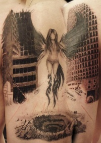 Black angel girl rises large tattoo