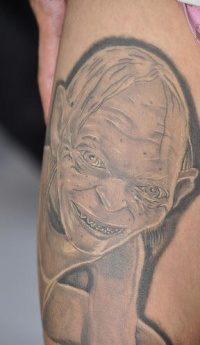 Black and white gollum 3d tattoo